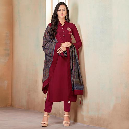 Glorious Maroon Colored Partywear Cotton Suit
