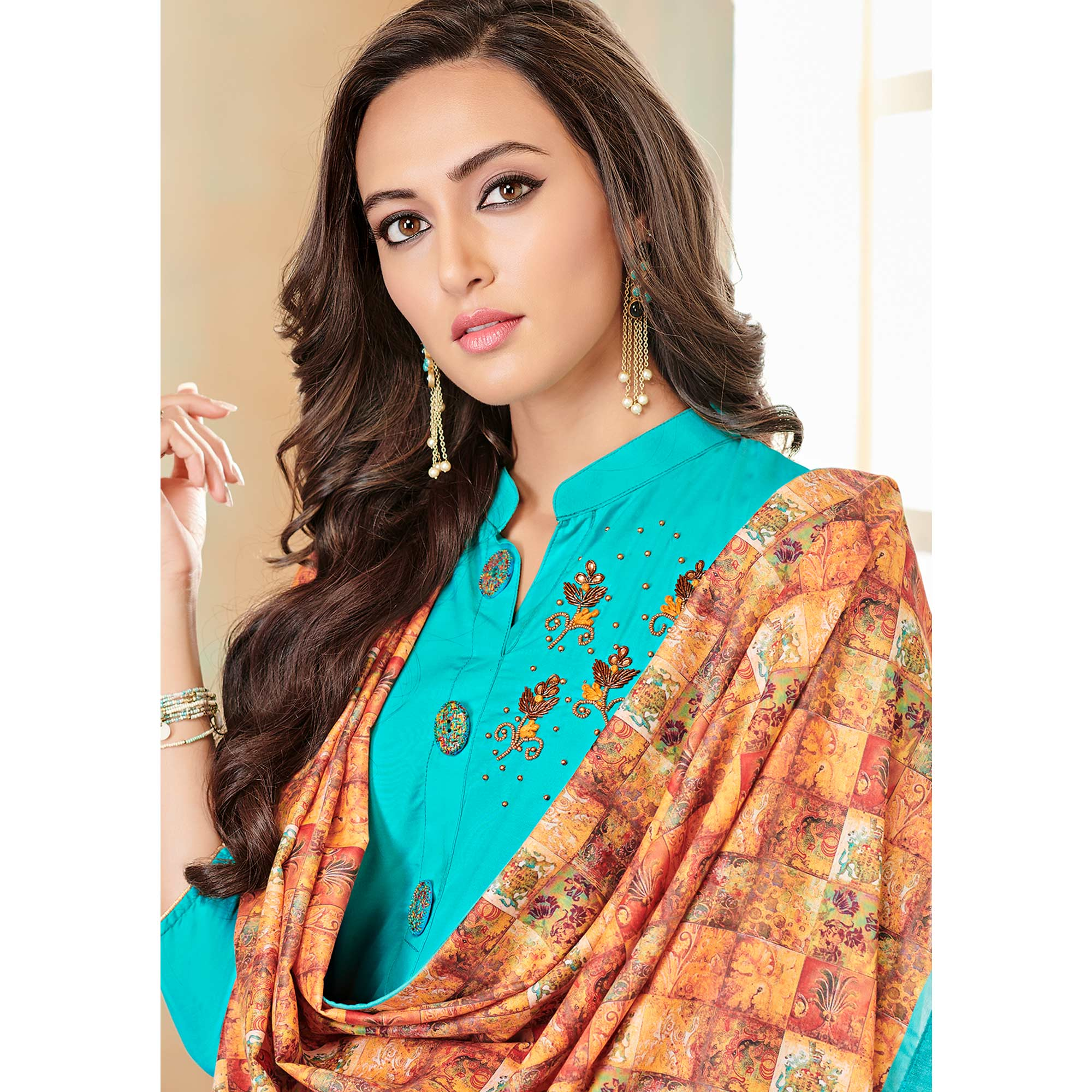 Attractive Rama Blue Colored Partywear Cotton Suit