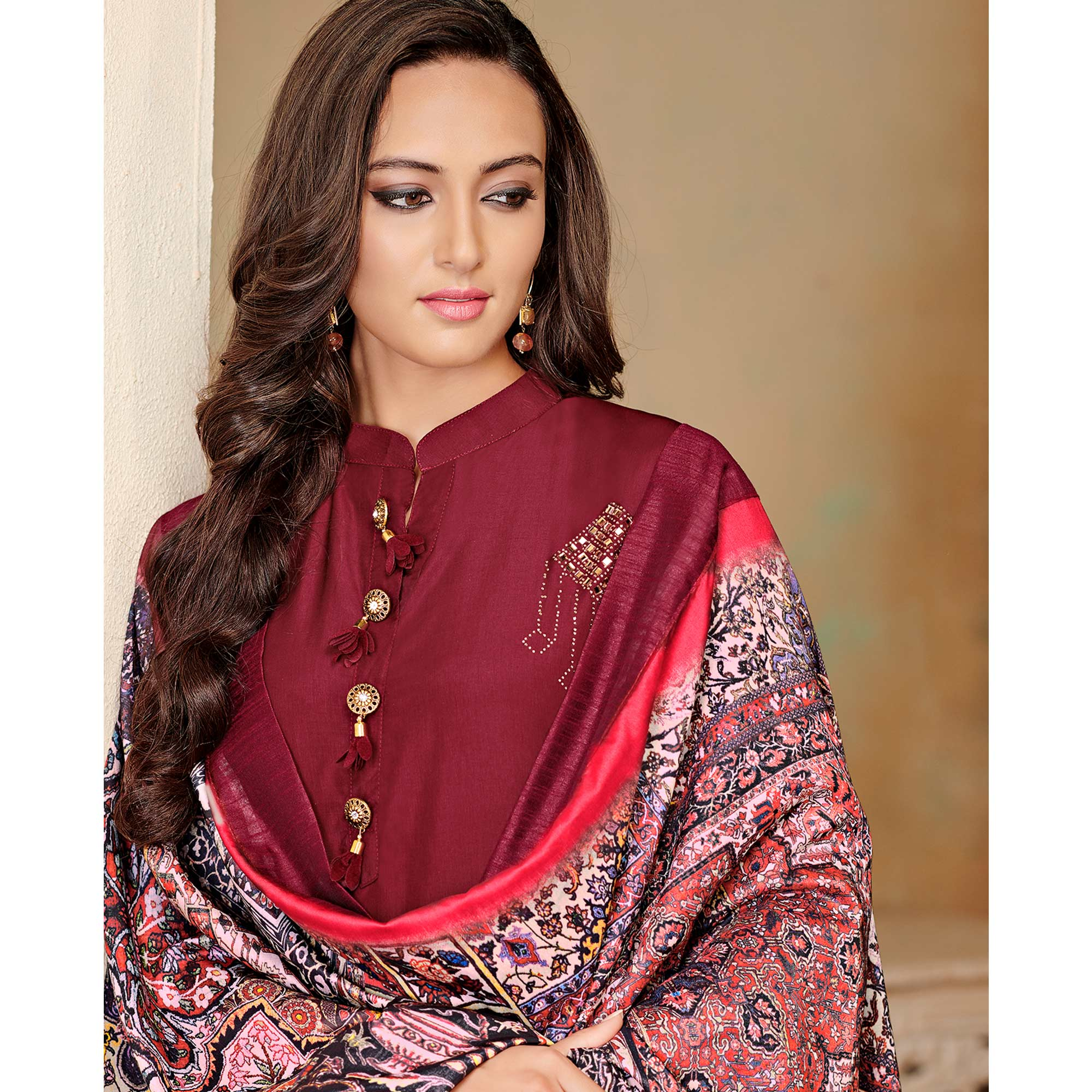 Beautiful Maroon Colored Partywear Cotton Suit