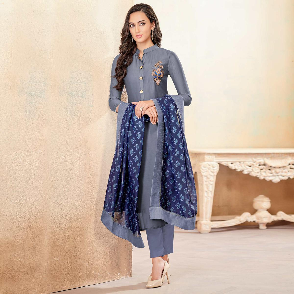 Graceful Grey Colored Partywear Cotton Suit