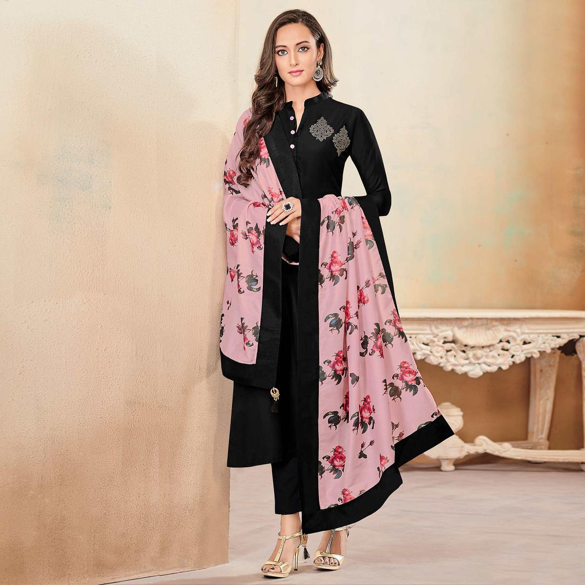 Blooming Black Colored Partywear Cotton Suit
