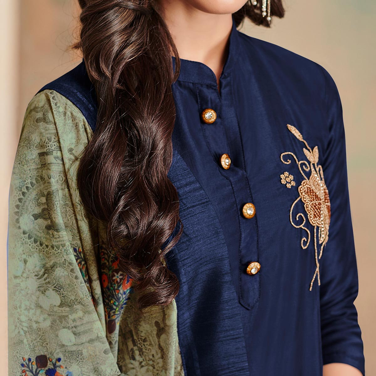 Charming Navy Blue Colored Partywear Cotton Suit