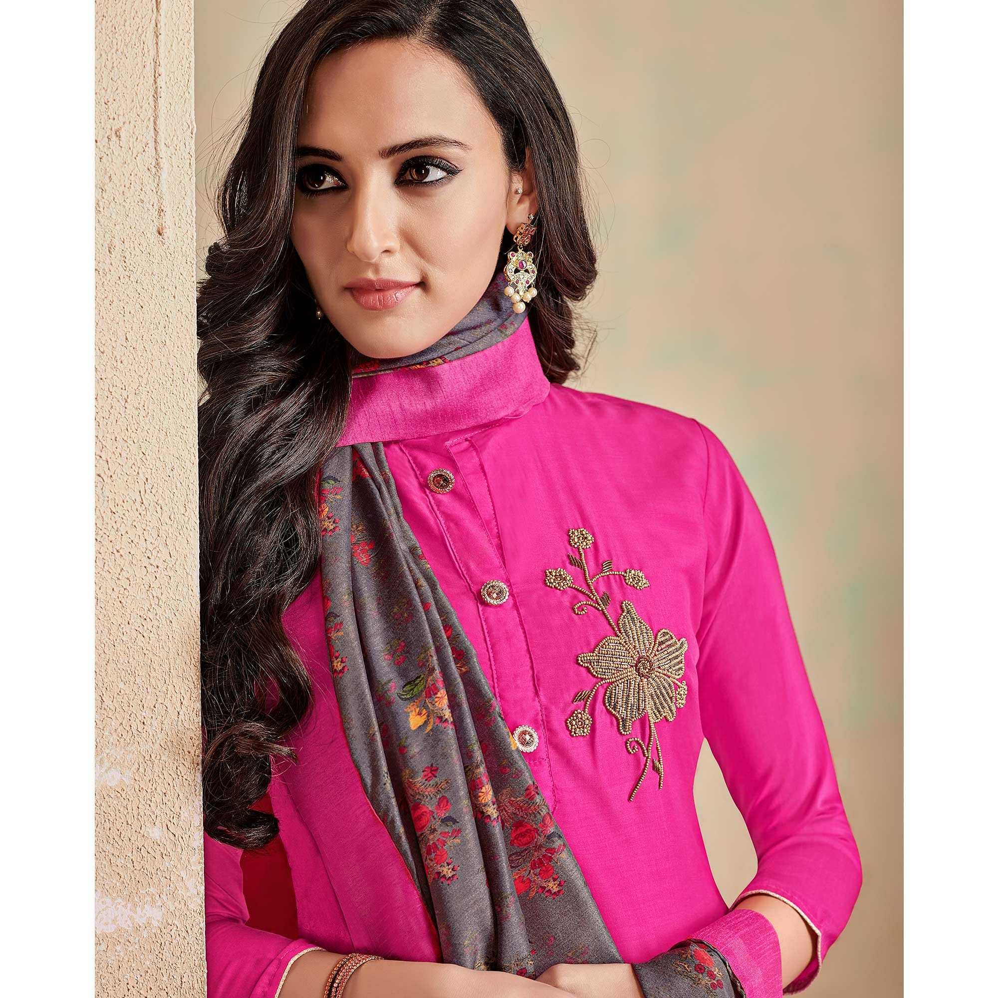 Jazzy Pink Colored Partywear Cotton Suit