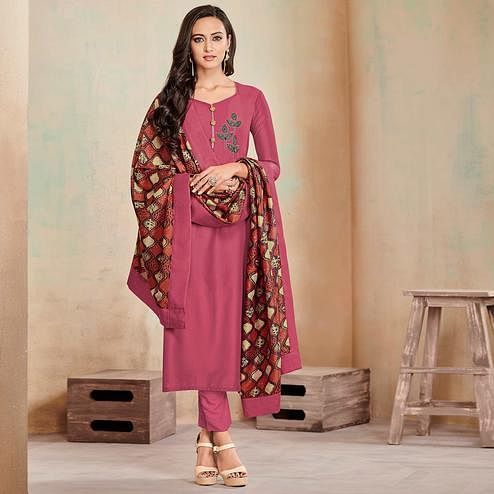 Delightful Mauve Colored Partywear Cotton Suit