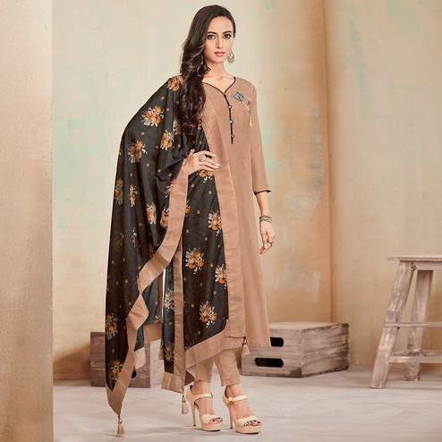 Engrossing Light Brown Colored Partywear Cotton Suit