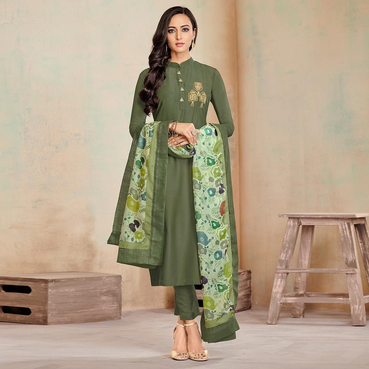 Captivating Olive Green Colored Partywear Cotton Suit