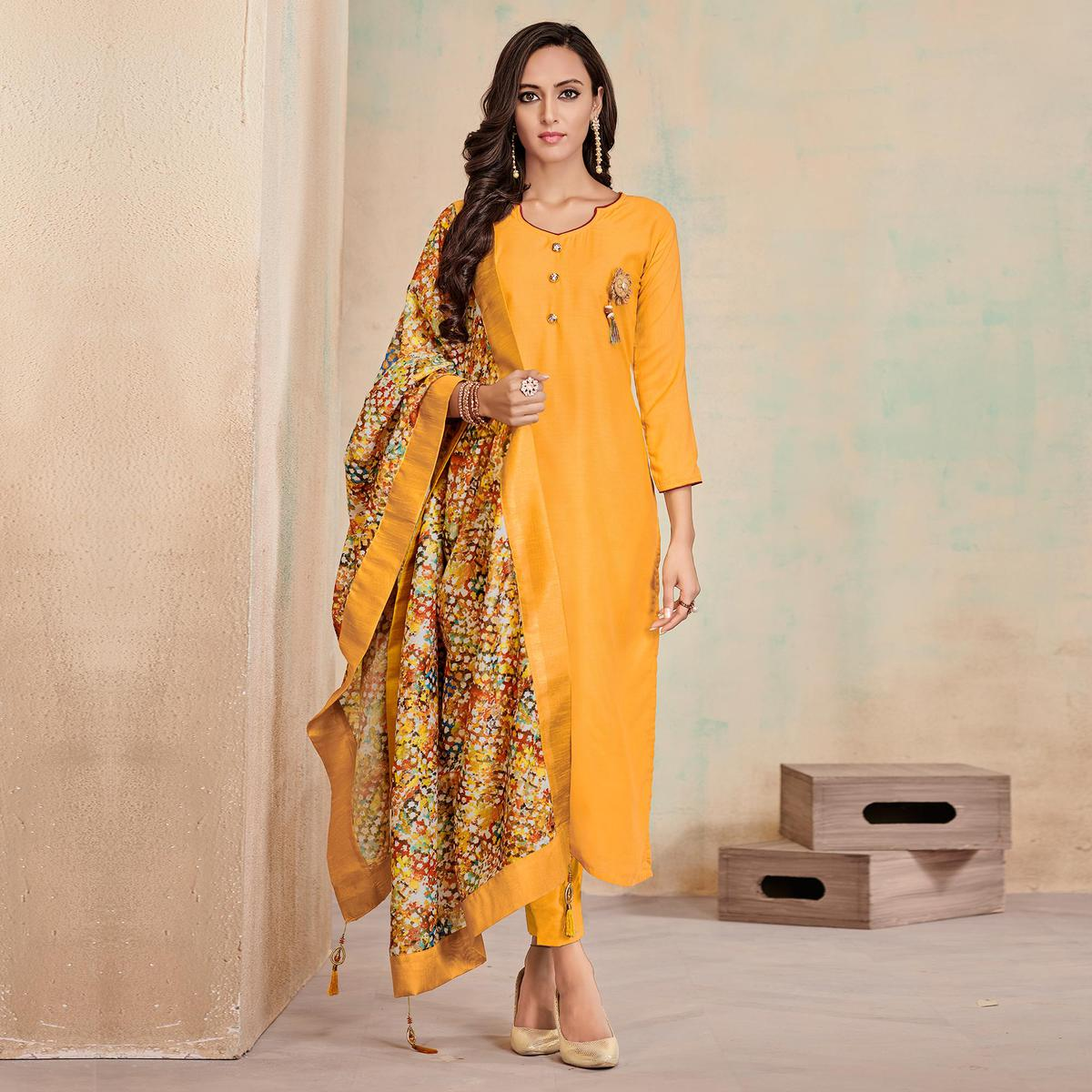 Innovative Yellow Colored Partywear Cotton Suit