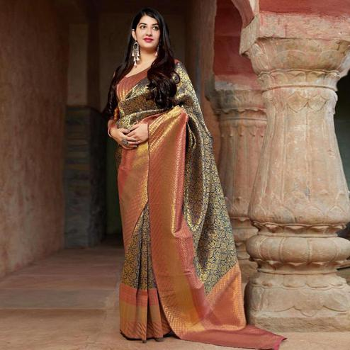 Fantastic Golden Colored Festive Wear Woven Banarasi Silk Saree