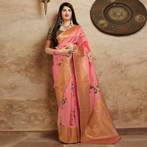 Amazing Pink Colored Festive Wear Woven Banarasi Silk Saree