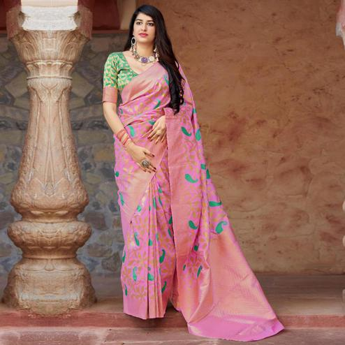 Imposing Pink Colored Festive Wear Woven Banarasi Silk Saree