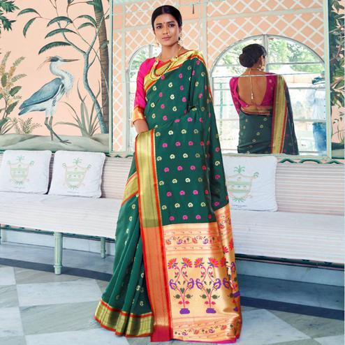 Impressive Turquoise Green Colored Festive Wear Woven Paithani Silk Saree
