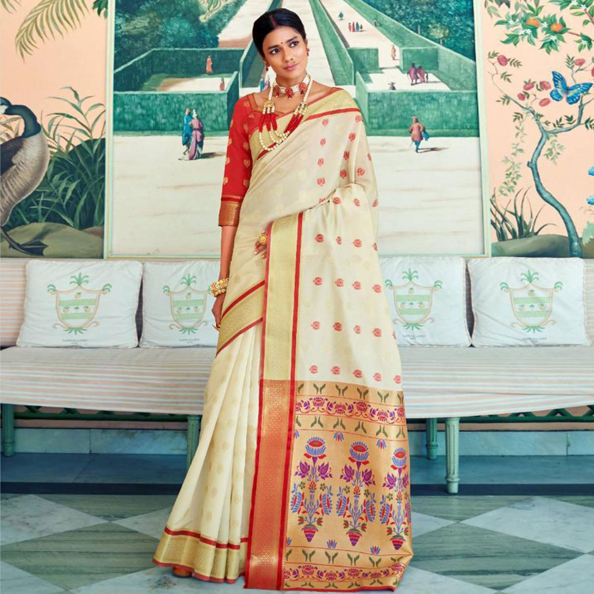 Mesmerising Off White Colored Festive Wear Woven Paithani Silk Saree