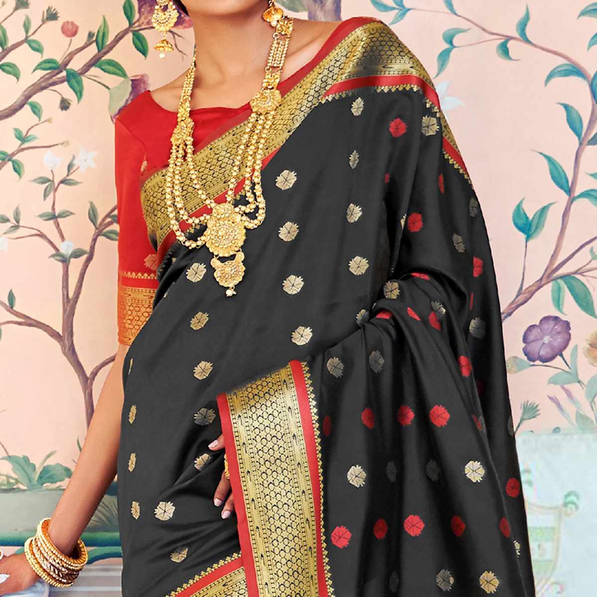 Pleasance Black Colored Festive Wear Woven Paithani Silk Saree