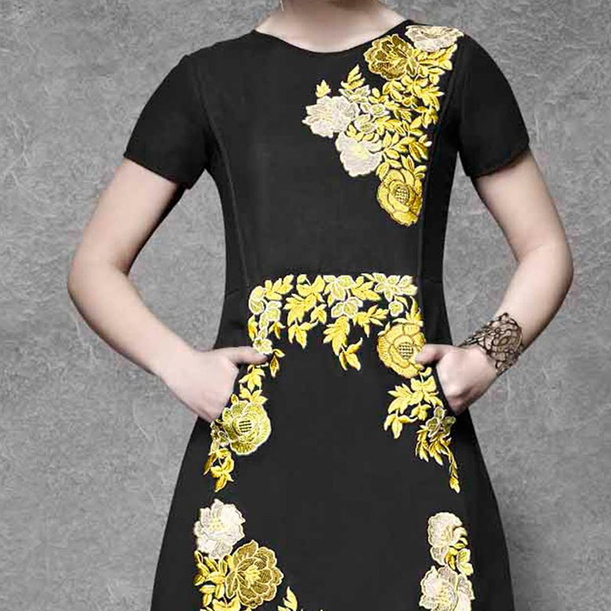 Black Floral Work Georgette Tunic