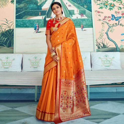 Breathtaking Orange Colored Festive Wear Woven Paithani Silk Saree