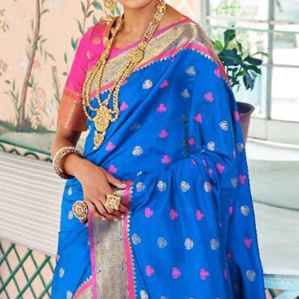 Ethnic Blue Colored Festive Wear Woven Paithani Silk Saree