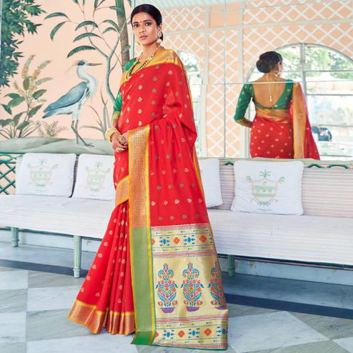 Dazzling Red Colored Festive Wear Woven Paithani Silk Saree