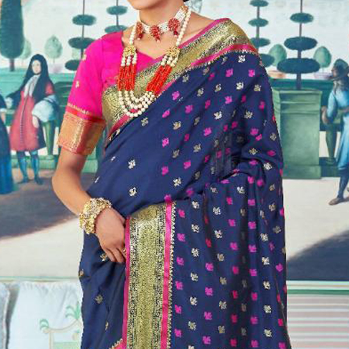Surpassing Navy Blue Colored Festive Wear Woven Paithani Silk Saree