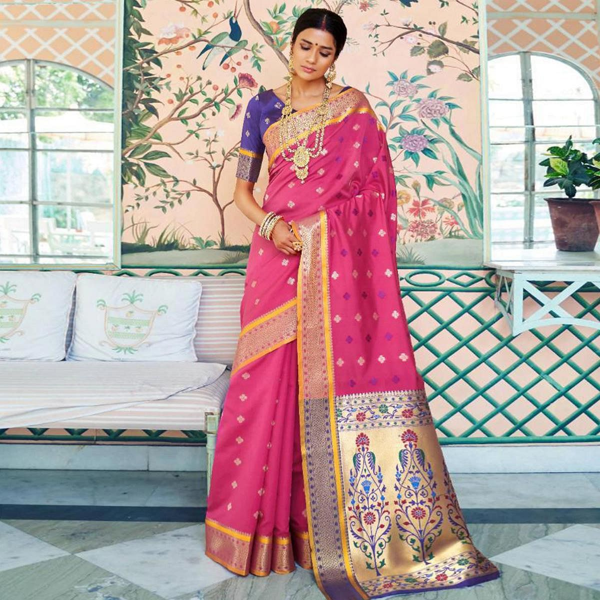 Exceptional Pink Colored Festive Wear Woven Paithani Silk Saree