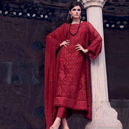 Marvellous Crimson Red Colored Partywear Embroidered Georgette Suit