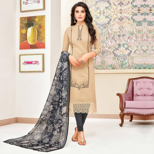 Magnetic Beige Colored Partywear Embroidered Modal Silk Suit