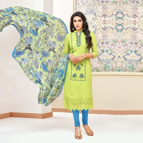 Hypnotic Green Colored Partywear Embroidered Modal Silk Suit