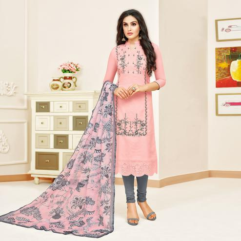 Flattering Pink Colored Partywear Embroidered Modal Silk Suit