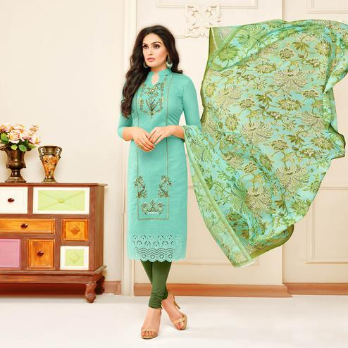 Excellent Aqua Green Colored Partywear Embroidered Modal Silk Suit