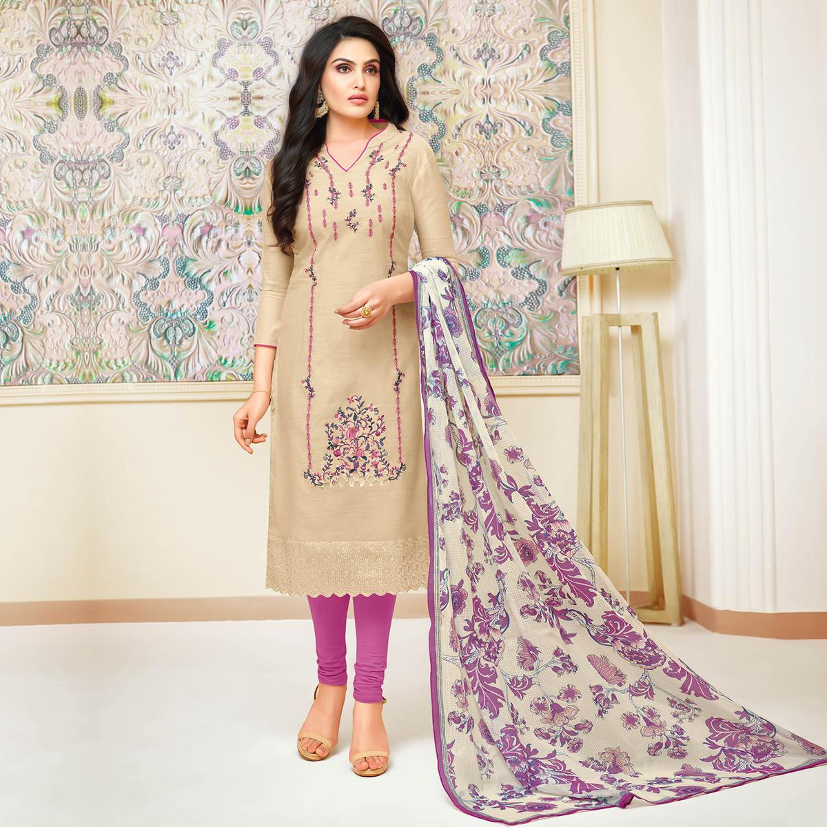 Preferable Cream Colored Partywear Embroidered Modal Silk Suit