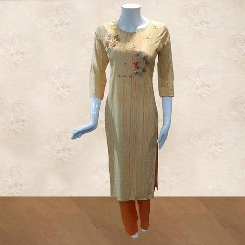 Glorious Yellow Colored Partywear Embroidered Cotton Kurti-Palazzo Set