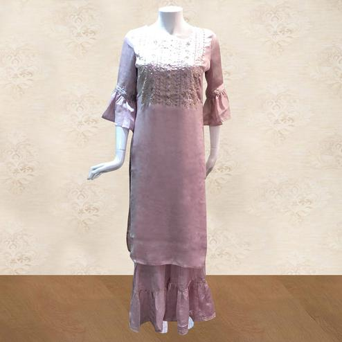 Engrossing Pink Colored Partywear Embroidered Satin-Georgette Kurti-Sharara Set