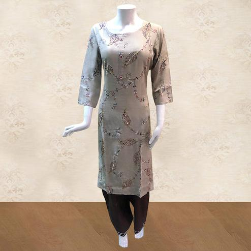 Innovative Light Brown Colored Partywear Embroidered Cotton Kurti-Palazzo Set