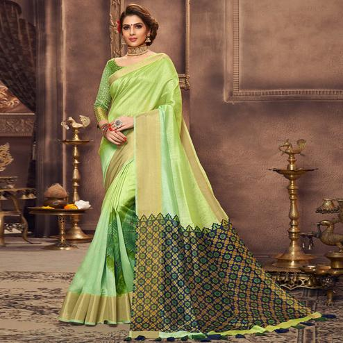 Pleasant Green Colored Festive Wear Printed Art Silk Saree