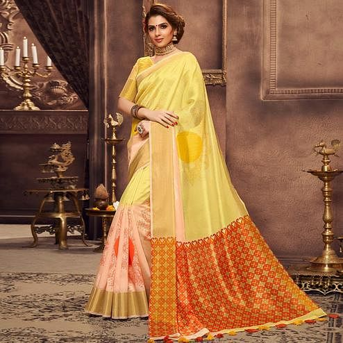 Energetic Yellow Colored Festive Wear Printed Art Silk Saree