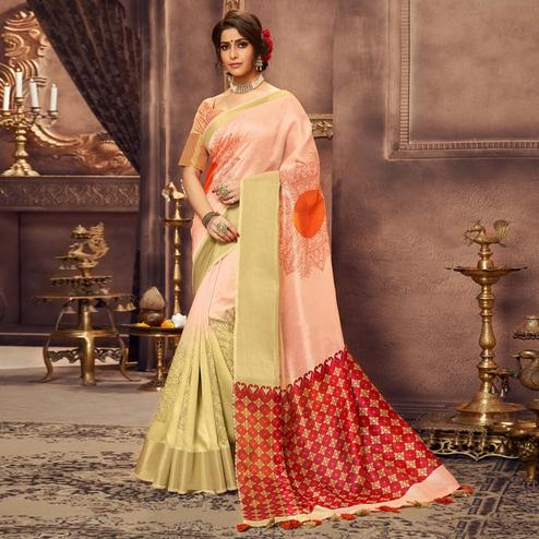 Glowing Peach Colored Festive Wear Printed Art Silk Saree