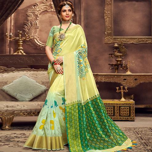 Exceptional Lemon Green Colored Festive Wear Printed Art Silk Saree