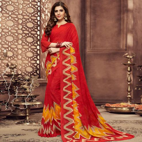 Mesmeric Red Colored Casual Printed Chiffon Saree