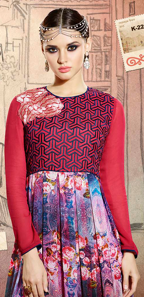 Red Printed Georgette Tunic