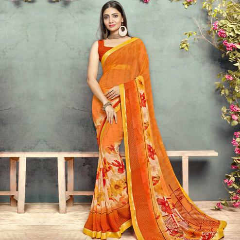 Graceful Orange Colored Casual Printed Georgette Saree