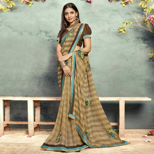 Attractive Light Brown Colored Casual Printed Georgette Saree