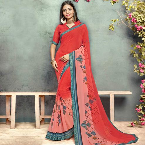 Glorious Coral Red Colored Casual Printed Georgette Saree