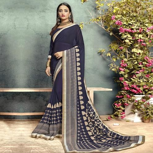 Adorable Navy Blue Colored Casual Printed Georgette Saree