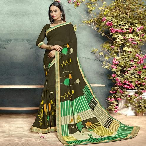 Imposing Mehendi Green Colored Casual Printed Georgette Saree