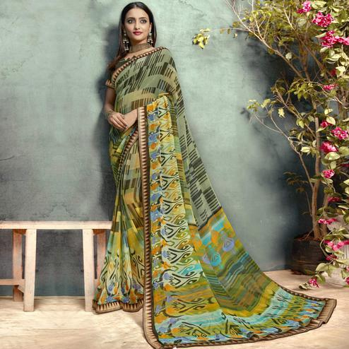 Majesty Green-Multi Colored Casual Printed Georgette Saree