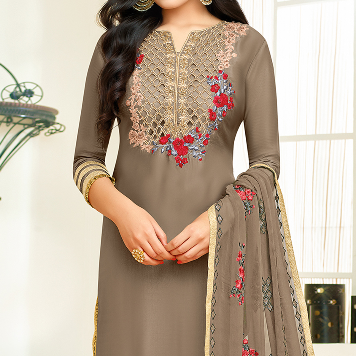 Adorable Grey Colored Partywear Embroidered Silk Suit