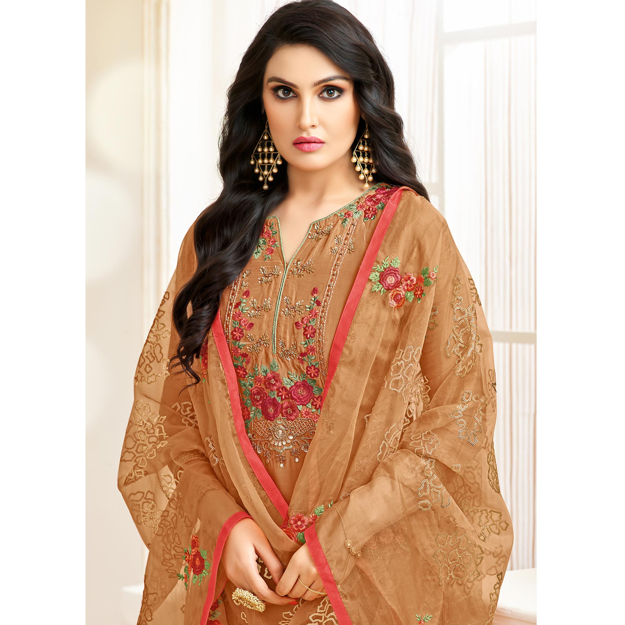 Glorious Rust Orange Colored Partywear Embroidered Silk Suit