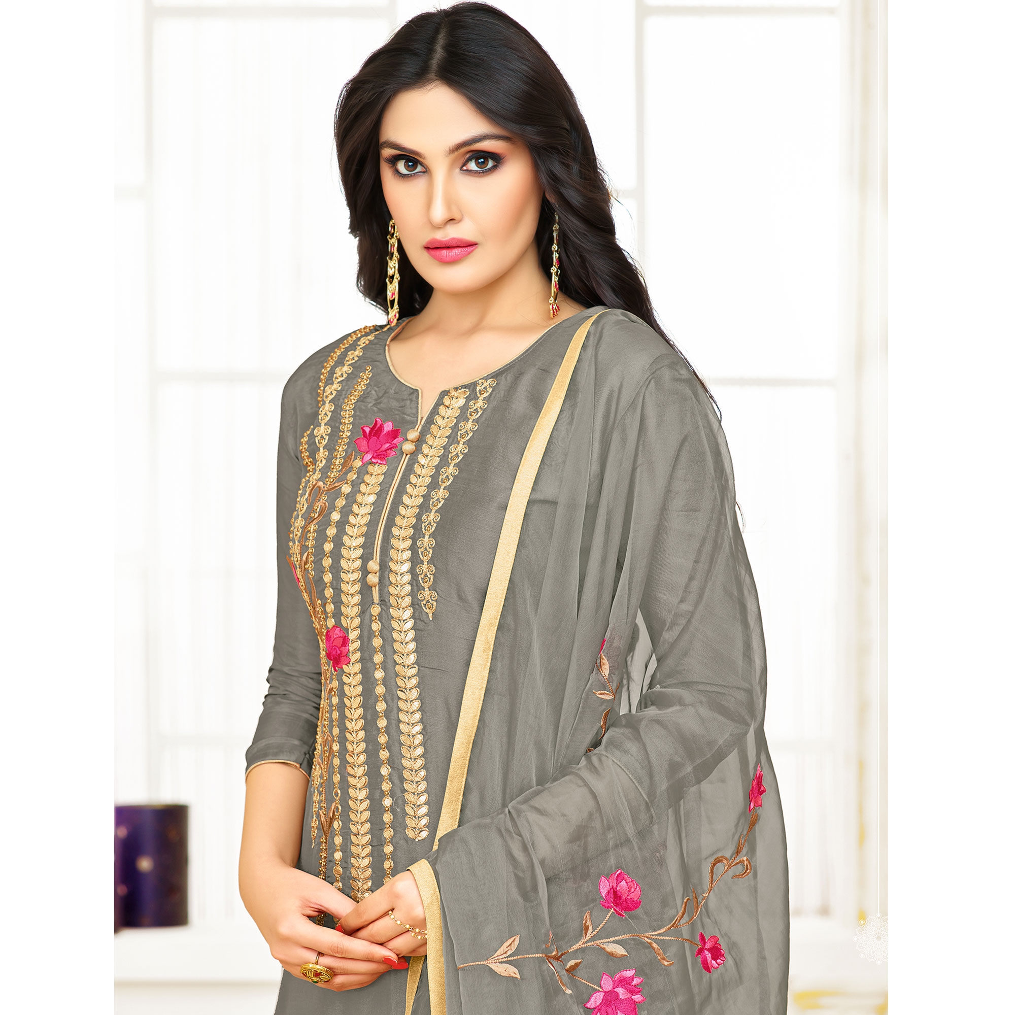 Attractive Grey Colored Partywear Embroidered Silk Suit
