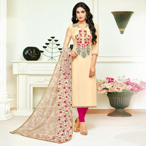 Beautiful Cream Colored Partywear Embroidered Silk Suit