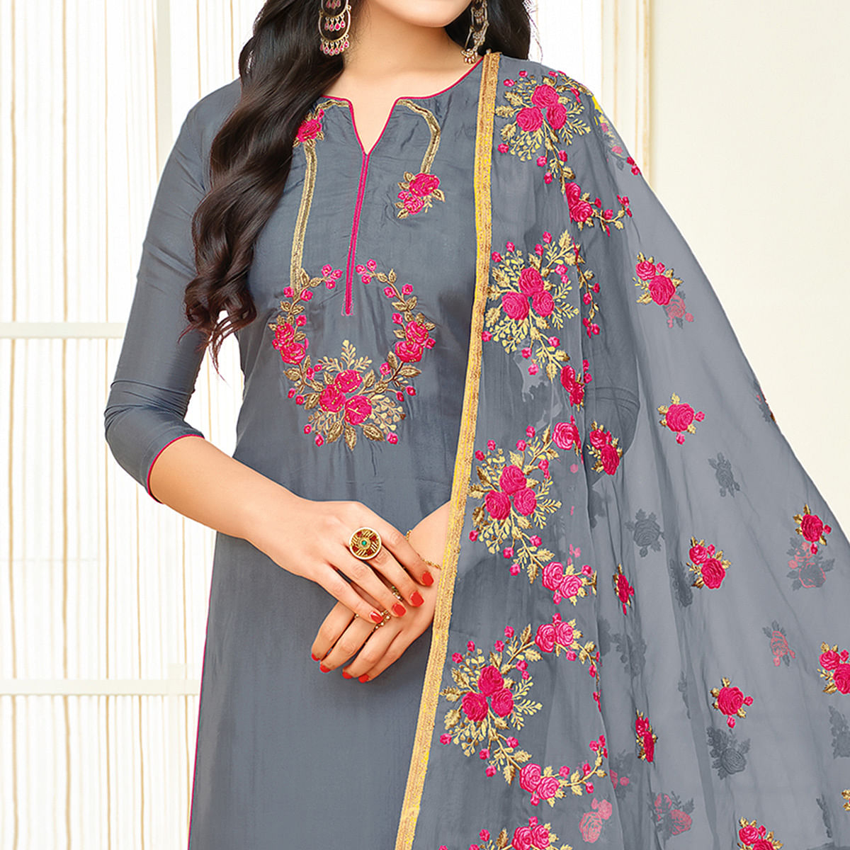 Graceful Bluish Grey Colored Partywear Embroidered Silk Suit