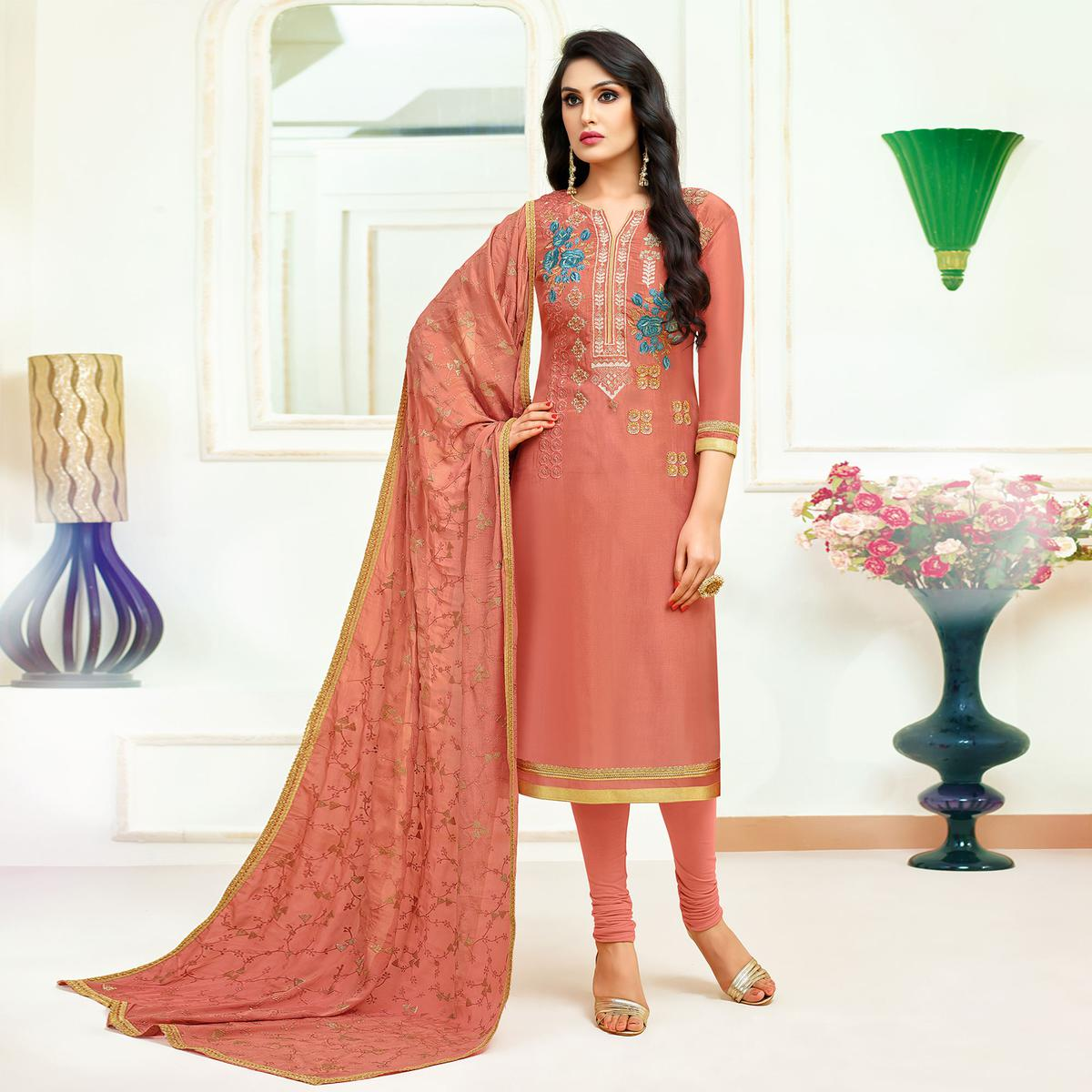 Charming Peach Colored Partywear Embroidered Silk Suit